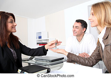 proprietari, prendere, chiavi, loro, casa, proprietà