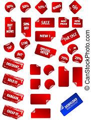 proprio, testo, etichette, appiccicoso, tuo, design., perfetto, web, qualsiasi, facile, marketing, retro., size., grande, prezzo, collezione, redigere, 2.0, aqua, grunge, advertisement., vettore