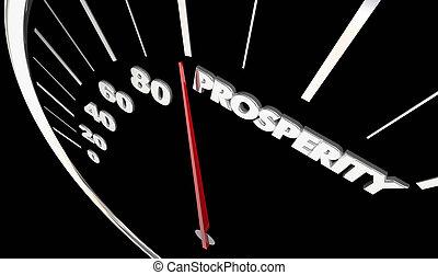 prosperità, soldi, illustrazione, economico, reddito, tachimetro, guadagno, 3d