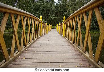 prospettiva, ponte, sopra, acqua, foresta legno, vista
