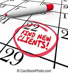prospettiva, vendita, clienti, vendite, parole, nuovo, calendario, trovare