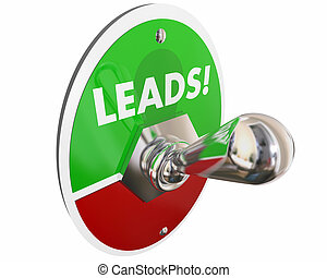 prospettive, clienti, illustrazione, vendite, piombi, interruttore, 3d