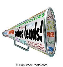 prospettive, clienti, vendite, piombi, bullhorn, parole, nuovo, megafono
