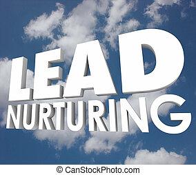 prospettive, piombo, processo, clienti, vendite, parole, cura, nuvola, 3d
