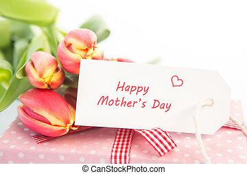 prossimo, scheda, tulips, regalo, festa mamma, mazzolino, felice