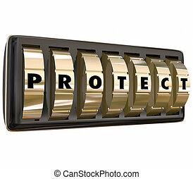 proteggere, lettere, serratura, sicuro, sicurezza, parola, quadranti, sicurezza