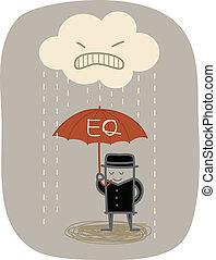 proteggere, ombrello, arrabbiato, uso, pioggia, uomo affari, eq