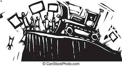 protesta, bulldozer