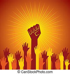 protesta, stretto, tenuto, pugno