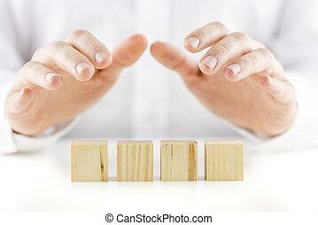 protettivamente, suo, image., legno, sopra, mani, text., quattro, concettuale, cubi, riflessivo, presa a terra, vuoto, pronto, tavola, bianco, uomo, tuo, fila