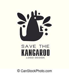 protezione animale, segno canguro, selvatico, vettore, sfondo nero, illustrazioni, logotipo, bianco, risparmiare, disegno