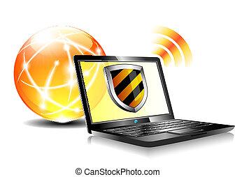 protezione, antiviru, scudo, internet
