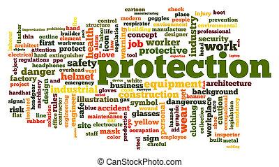 protezione, parola, nuvola