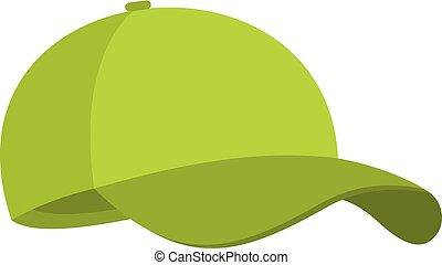 protezione piana, baseball, icona, verde, style.