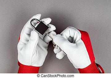 protezione, uomo, hands., misure, sicurezza, concetto, lucchetto