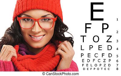 prova, sopra, cappello, sciarpa, tavola., bello, visione, rosso, donna, occhiali