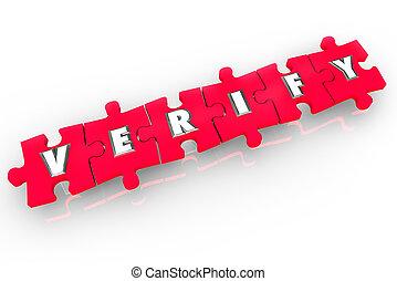 provare, parola, confermare, verificare, puzzle, ispezionare, pezzi, 3d