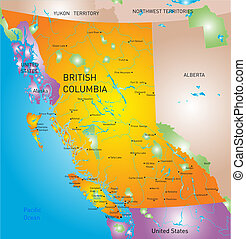 provincia, mappa, columbia, britannico
