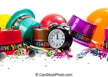 provviste, anno, felice, celebrazione, nuovo, bianco