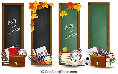 provviste, bandiere, scuola, school., vector., quattro, indietro, leaves., autunno