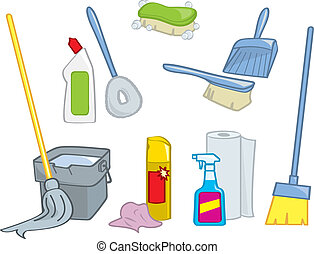 provviste, cartone animato, pulizia
