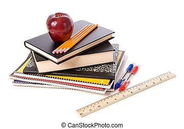 provviste, scuola, bianco, mela, fondo