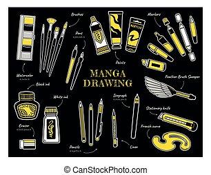provviste, spazzola, spazzole, comics., spazzino, francese, penna, transatlantico, disegno, arte, penna, manga, curve., marcatori, inchiostro, nero, vernici, collezione, bianco