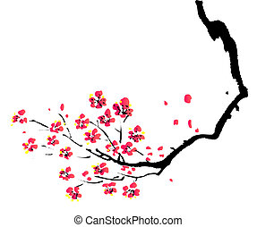 prugna, pittura, cinese