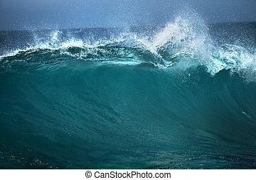 pubblicità, buono, fondo, onda, bianco, blu, uso, testo, oceano