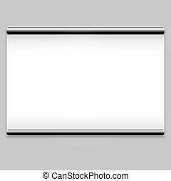 pulito, schermo bianco, fondo, proiettore
