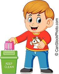 pulito, trush, ambiente, custodire, ragazzo, scomparto rifiuti