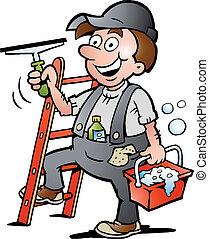 pulitore, finestra, illustrazione