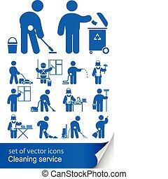 pulizia, servizio, icona