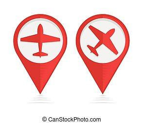 puntatori, aeroplano, vettore