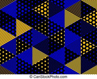 punteggiato, dimensionale, cubi, linee, fondo, modello geometrico, seamless, design., architettura, costruzione, vettore, punti, 3d, blocchi