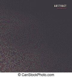 punteggiato, effect., astratto, onda, fondo, 3d