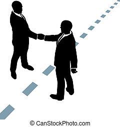 punteggiato, persone affari, stringere le mani, linea, essere d'accordo