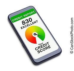 punteggio, telefono, far male, credito