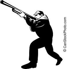punteria, cacciatore, inginocchiandosi, fucile