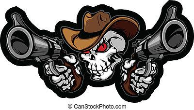 punteria, pistole, cranio, cowboy