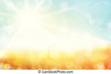 punti, 1701002, cielo blu, sole, priorità bassa blurry, bokeh, spia verde, primavera