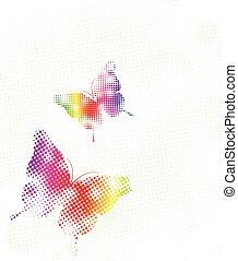 punti, arcobaleno, vettore, illustrazione, butterfly.