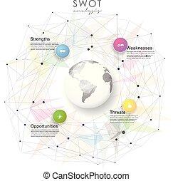 punti, blu, concetto, affari, mappa, threats), -, globo, debolezze, mente, opportunità, strategia, polygonal, cerchi, sagoma, presentations., version., (strengths, luce, swot