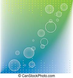 punti, cerchi, astratto, verde blu, fondo