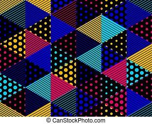 punti, cubi, punteggiato, modello, linee, seamless, vettore, blocchi, dimensionale, fondo, architettura, geometrico, 3d, costruzione, design.