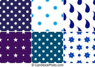 punti, paisley, set, polka, seamless, modelli, offuscamento
