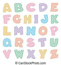 punti, polka, alfabeto, pastelli