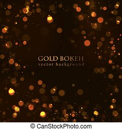 punti, scuro, oro, scintilla, fondo., magia, bokeh, vettore, effect.