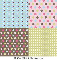 punti, set, polka, seamless, modelli