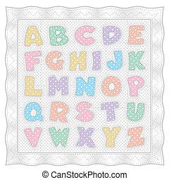 punti, trapunta, pastello, alfabeto, polka